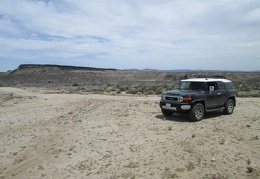 The FJ and I take a short break at the old corral at the northeast end of Woods Wash Rd