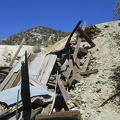 At the end of Carruthers Canyon Road are tailings piles and a collapsed ore chute
