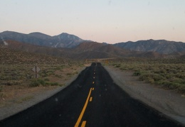Night arrives while I drive higher up into the Panamint Mountains, hoping to get a spot at Mahogany Flat campground