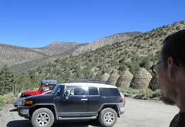 The parking for the Wildrose Peak trailhead is next to the old charcoal kilns