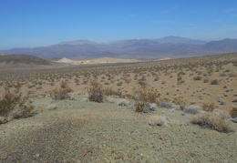 Walking across the open desert, the beige Crystal Hills come into view