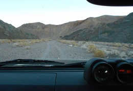 It's still 82°F as I drive through the pass out of the Owlshead Mountains