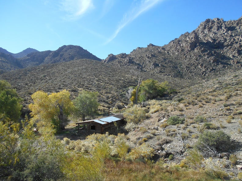 I pull over at the old cabin at Horse Thief Spring