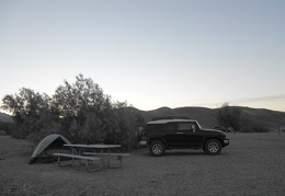 I wake up early (7 a.m.) at Texas Springs Campground in Death Valley