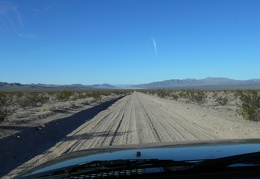 I get on I-40, drive many miles, then exit on Crucero Road toward Broadwell Dry Lake