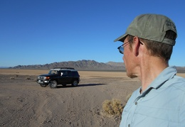 The FJ and I make a quick stop at Broadwell Dry Lake in front of the Bristol Mountains