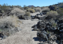 This sandy drainage should serve as a good trail through the rough lava