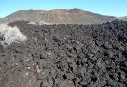 Lava rock provides a loose and unstable footing for hiking!