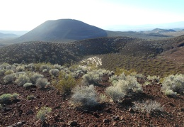 The dry lake is only a small corner of the middle of the cinder cones