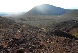 I've completed my loop around the cinder cone and now heading back down to the desert floor