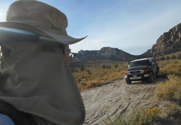 The FJ parks at the end of the dirt road and I begin a short late-afternoon hike
