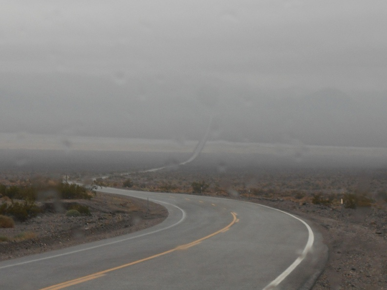 As I drive down into Panamint Valley, I see it's raining down there too
