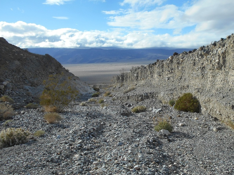 I take a look back down to Panamint Valley as I head up the canyon
