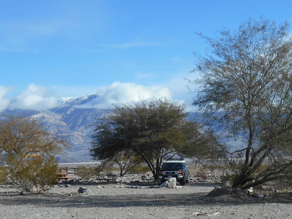 It's a chilly, sunny morning at my Panamint Springs campsite