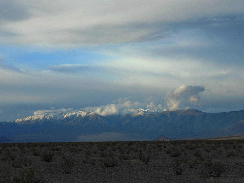 Snow crowns Hunter Mountain as I look up Panamint Valley