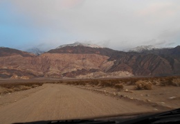 Sunset behind the FJ, I drive on toward the Panamint Mountains