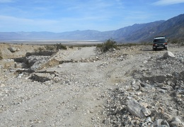 Hmmm, a little wash-out on Saline Valley Rd, with a detour