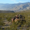 The Lead Canyon camp host watches dust blowing up from Saline Valley