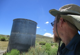 I arrive at the water tank up on Cowtrack Mountain