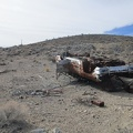 I come across one of those overturned cars that the desert is famous for