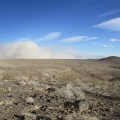I look back to see the Panamint Valley dust storm  still in full force