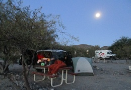 I wake up early at Panamint Springs to a bright moon, sunshine will arrive soon