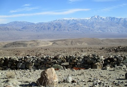 Front to back: rock wall, Ash Hill, Panamint Valley, Panamint Mountains