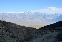 We take in the Panamint Mountains as our feet rejoin Minietta Road