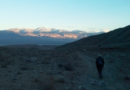 We're enjoying walking toward sunset cast upon the Panamint Mountains