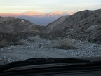 We catch the end of sunset on the Panamint Mountains as we drive down Stone Canyon