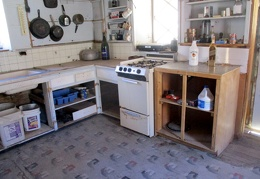 The kitchen in the Osborne Cabin is well appointed for a desert cabin