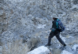 Eric leads the way as we find a route back down the dry waterfall
