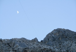 Next to the moon is the old tram cable that leads back down below