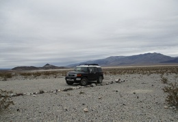 FJ, stay here while I hike to the Panamint Dunes!