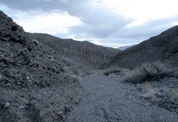I begin the hike down lower Nova Canyon as daylight fades away