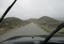 Rain picks up as I drive back up into the Saline Range after my gas fill-up