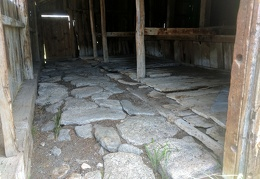 Rock paving inside the stables