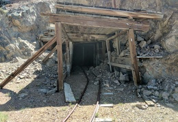An old rail line leads into the Moho Mine adit