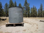 I drive past an old water tank on the way to Mono Craters