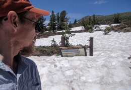 The Sonora Pass Trailhead sign has been knocked off its support