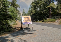 I stop for information on a forest fire ahead on Hwy 108