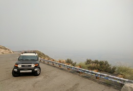 Mono Lake is lost in the smoke down at the overlook near Conway Summit