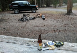 Ready to enjoy my campsite, with a beer, a pipe and a sunset