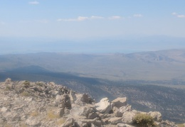 I see Mono Lake through the haze beyond Granite Mountain Wilderness