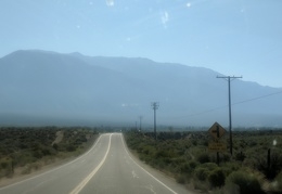 Approaching Benton Hot Springs in the smoky haze
