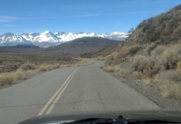 I drive Death Valley-Big Pine Road over the mountains toward the Sierra