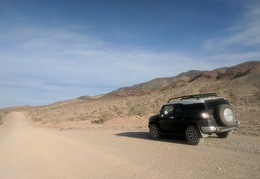 The FJ arrives at the Grapevine Mountains foothills
