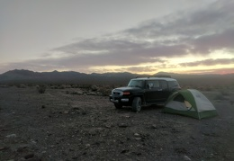 It's a nice cool sunrise here at my quiet Oriental Wash campsite