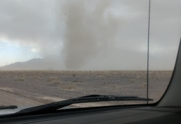Let's see if the dust devil stays in place while I drive past it