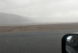 I can discern the Mesquite Dunes over in the dust cloud (or is it rain?)